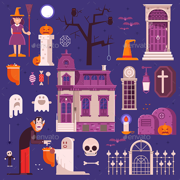 GraphicRiver Halloween Elements and Icons Collection 20625358