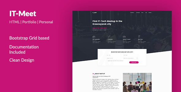 IT_Meet — Minimal and Clean Tech/IT-Conference PSD Template - Events Entertainment