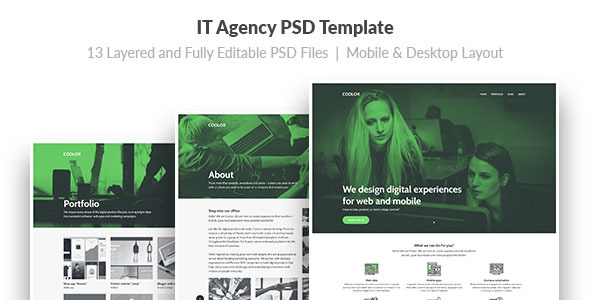 COOLOR — IT Agency PSD Template - Software Technology