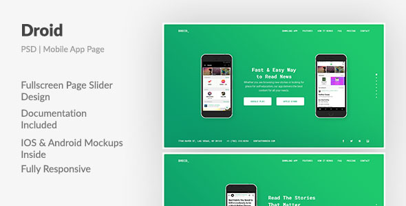 Droid — Mobile App Fullscreen Landing Page PSD Template - Software Technology