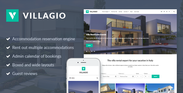 ThemeForest Villagio Property Rental WordPress Theme 20625489