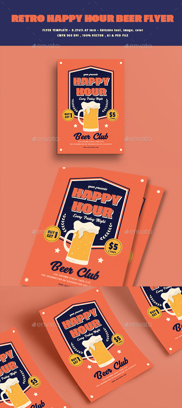 Retro Happy Hour Beer Flyer - Events Flyers
