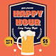 Retro Happy Hour Beer Flyer - GraphicRiver Item for Sale
