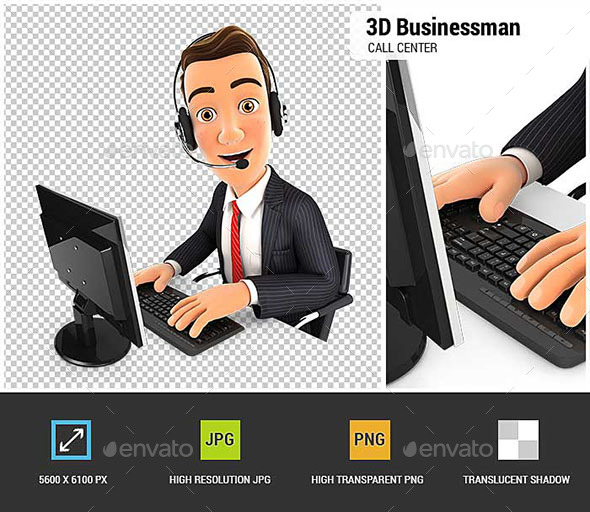 3D Businessman Call Center - Characters 3D Renders