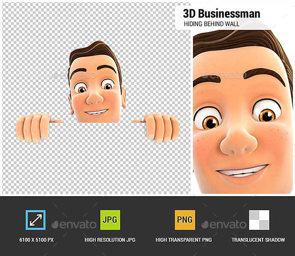 3D Businessman Hiding Behind White Wall - Characters 3D Renders