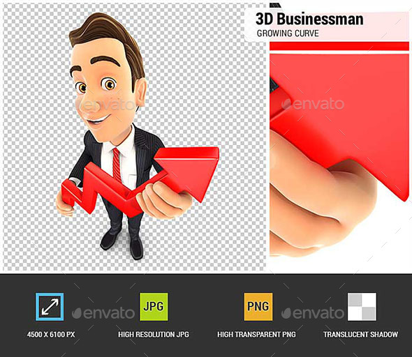 3D Businessman Holding a Growing Curve - Characters 3D Renders