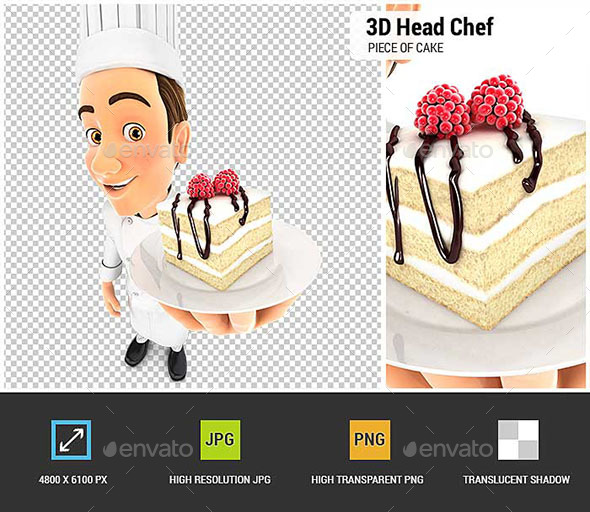 GraphicRiver 3D Head Pastry Chef Holding Piece of Cake 20625666