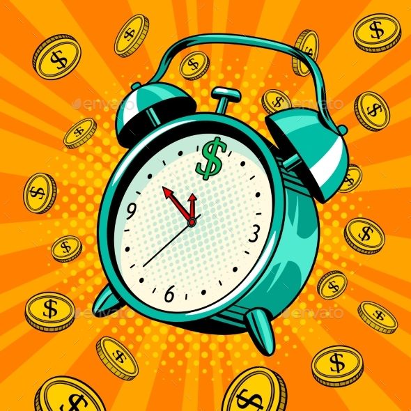 Alarm Clock with Money Pop Art Vector Illustration - Man-made Objects Objects