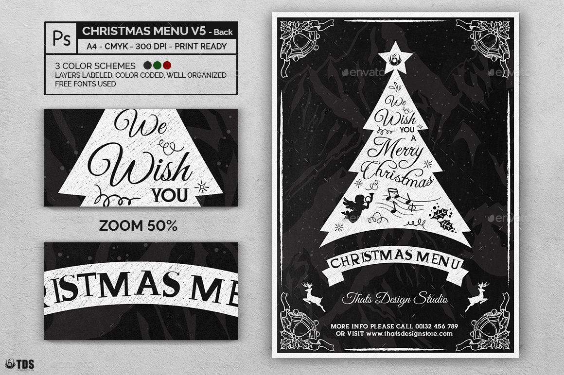 christmas menu template v5 by lou606 graphicriver