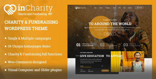 Charity WordPress Theme - InCharity theme for Charity, Fundraising, Non-profit organization