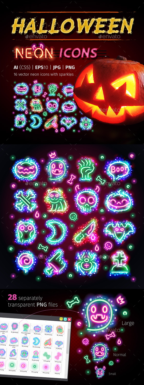 GraphicRiver Halloween Icons with Sparkles 20626058
