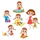 Set of Little Preschooler Girl Daily Routines
