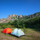 Tourist tents in a clearing in the mountains against the starry sky - PhotoDune Item for Sale