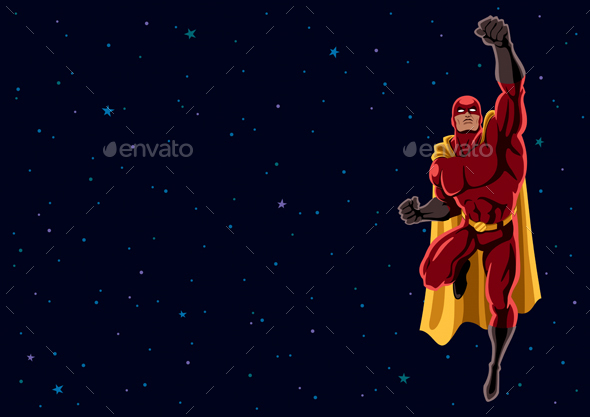 GraphicRiver Superhero Flying in Space 20626327