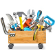 Vector Wooden Toolbox Trolley with Tools