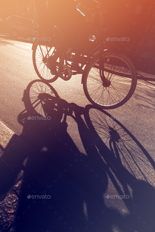 Shadow of unrecognizable cyclist on the road - Stock Photo - Images