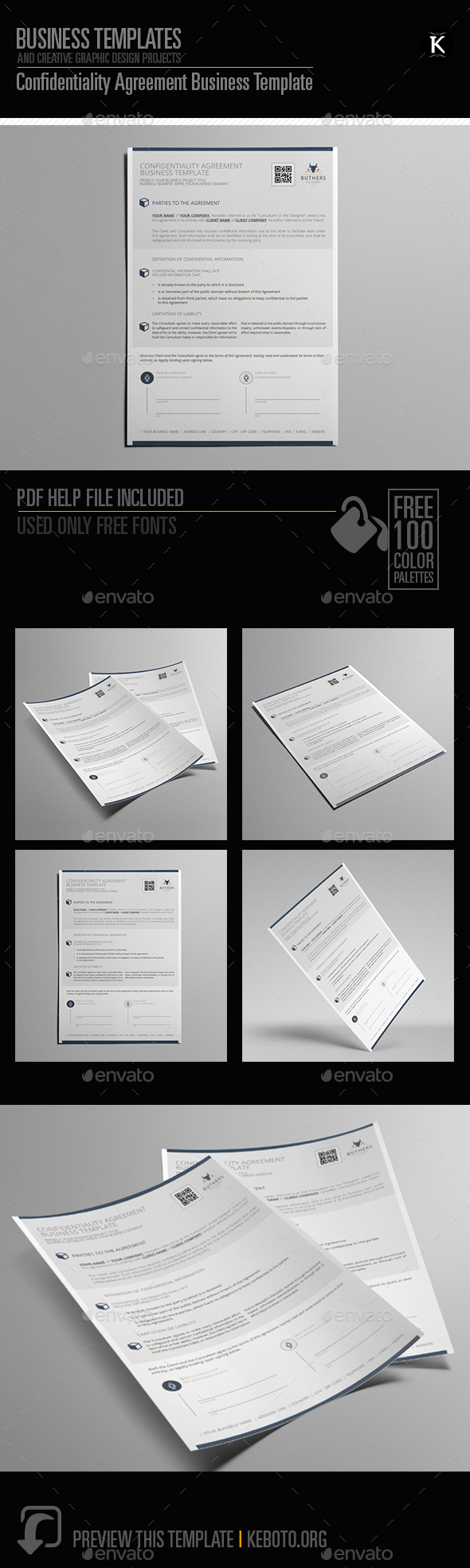 Confidentiality Agreement Business Template - Miscellaneous Print Templates