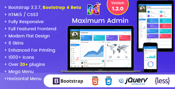 ThemeForest Maximum Responsive Bootstrap Admin Dashboard Template 20442130