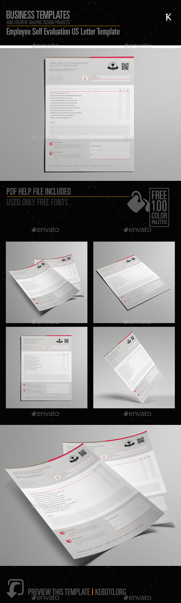 Employee Self Evaluation US Letter Template - Miscellaneous Print Templates