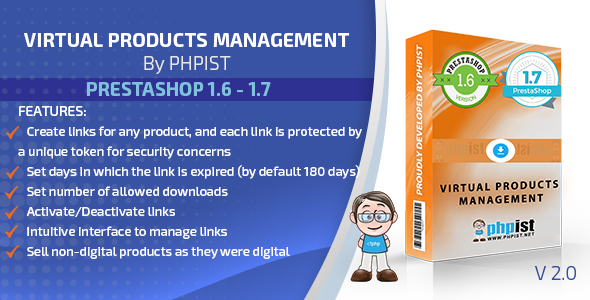 Prestashop Phpist Virtual Products Management Module - CodeCanyon Item for Sale
