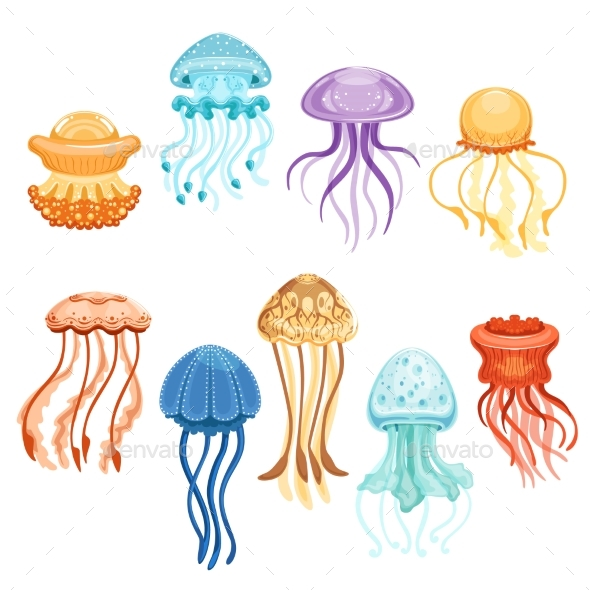 GraphicRiver Colorful Jellyfish Set 20626930
