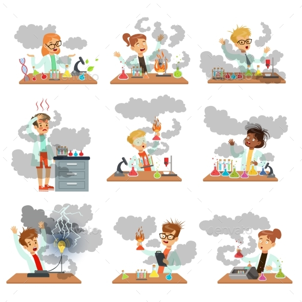 GraphicRiver Kid Chemists Characters 20626941