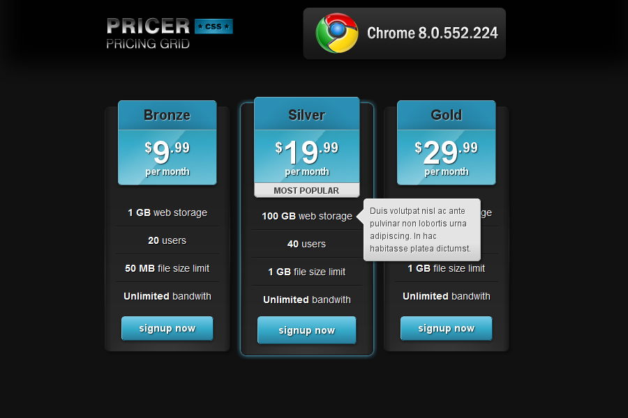 Pricer Pricing Grid