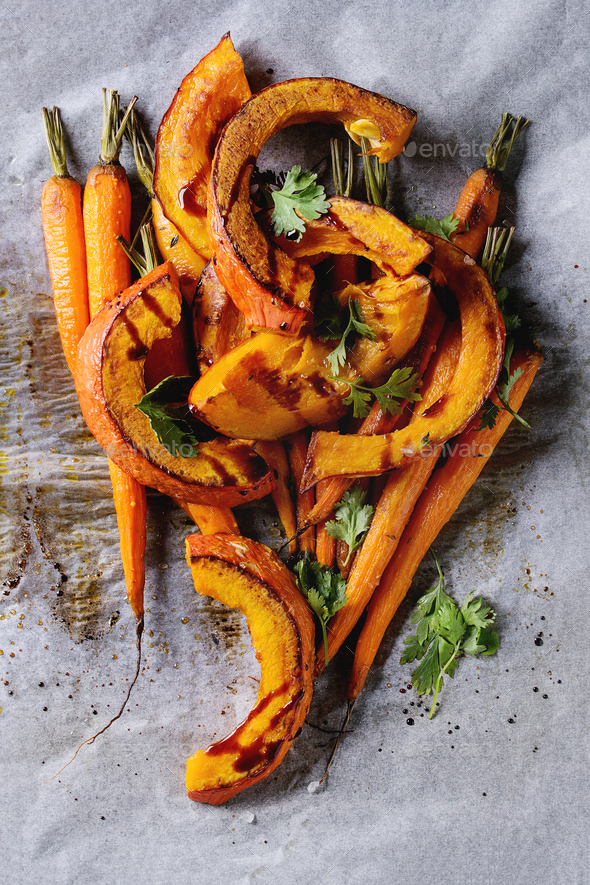 Roasted young carrot and pumpkin - Stock Photo - Images