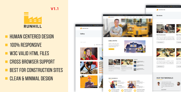 Runhill | Construction HTML5 Template - Business Corporate