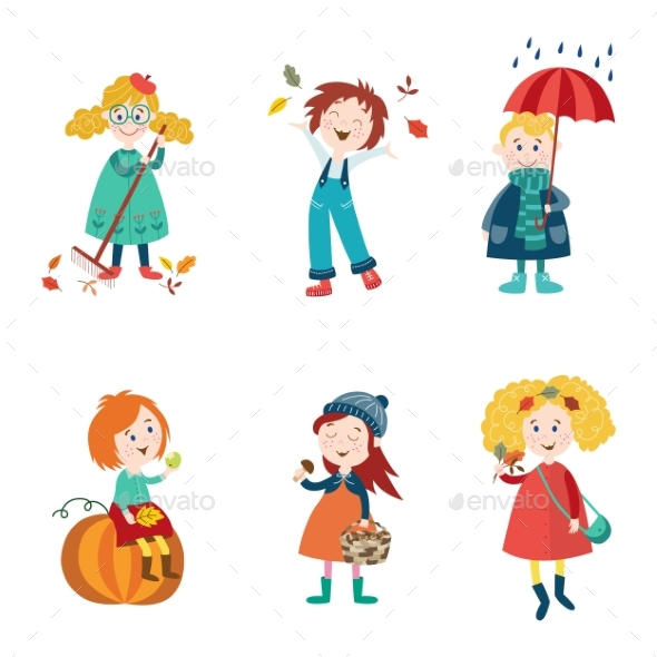 Cartoon Kids Enjoy Fall, Autumn Activities - Seasons/Holidays Conceptual