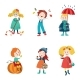 Cartoon Kids Enjoy Fall, Autumn Activities