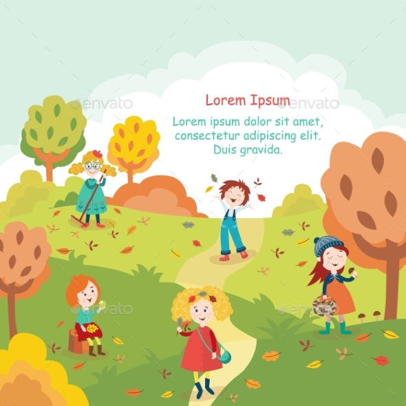 Kids, Children Having Fun in Fall, Autumn Park - Seasons/Holidays Conceptual