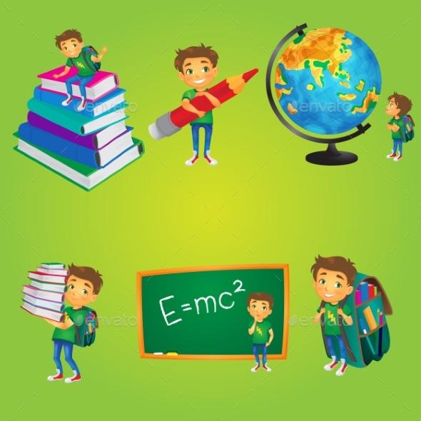 Kid, Boy, Schoolboy Doing School Activities - People Characters
