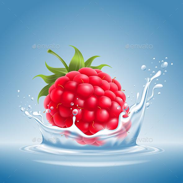 GraphicRiver Raspberry in Water Splash 20627688
