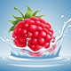 Raspberry in Water Splash