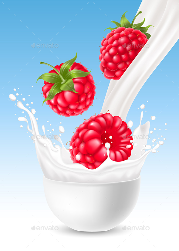 Raspberry in Milk Splash - Food Objects