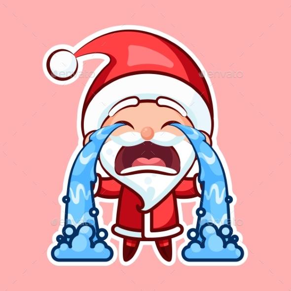 Sticker Emoji Emoticon, Emotion Sob, Cry, Weep - Christmas Seasons/Holidays