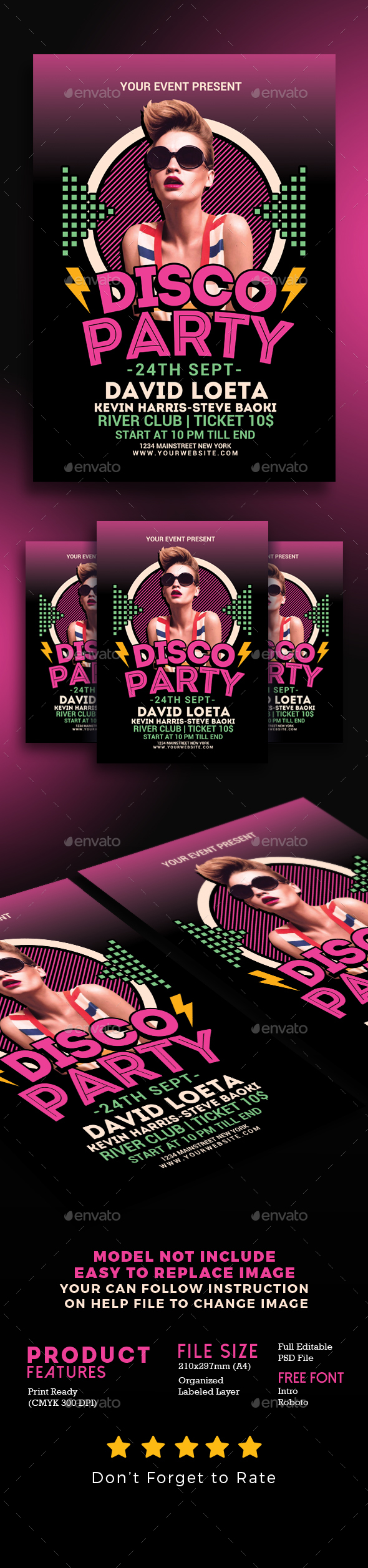 Disco Party Night - Events Flyers