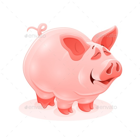 GraphicRiver Pink Piggy Young Cartoon Animal Vector 20627967