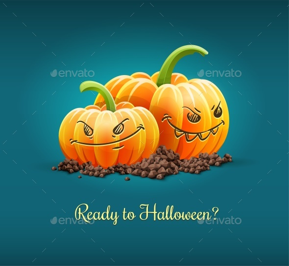 Angry Pumpkins for Halloween Holiday Vector Illustration. - Vectors