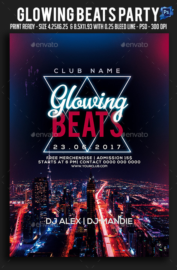 Glowing Beats Party Flyer - Clubs & Parties Events