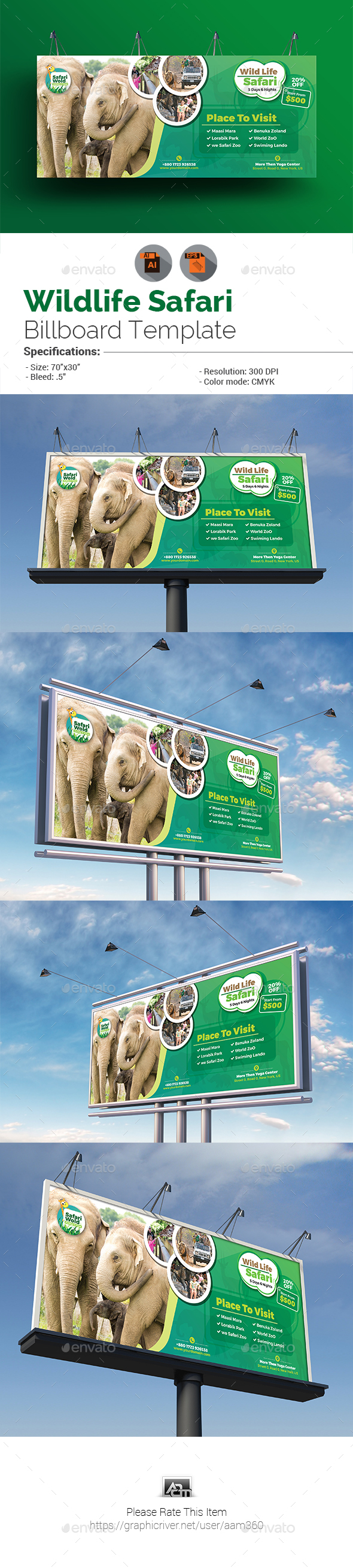 GraphicRiver Wildlife Safari Billboard Template 20628285