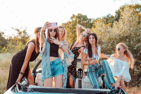 Six beautiful girls make selfie - Stock Photo - Images