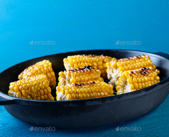 Baked on a frying pan corn - Stock Photo - Images