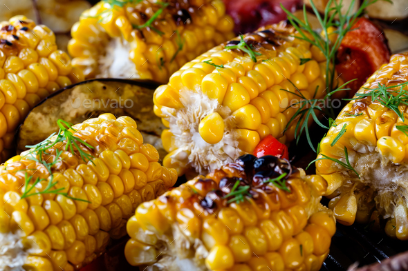 Food background made of baked corn - Stock Photo - Images
