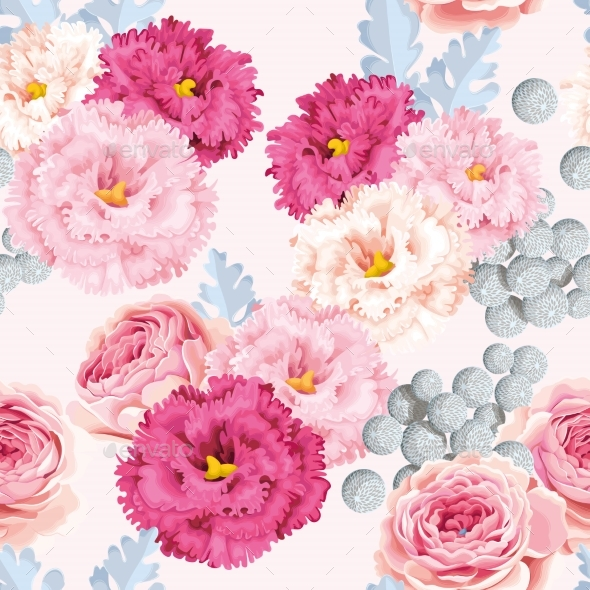 Seamless Pattern with Eustoma and Roses - Flowers & Plants Nature