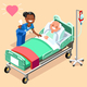 Black Nurse or Family Doctor at Male Patient Bed