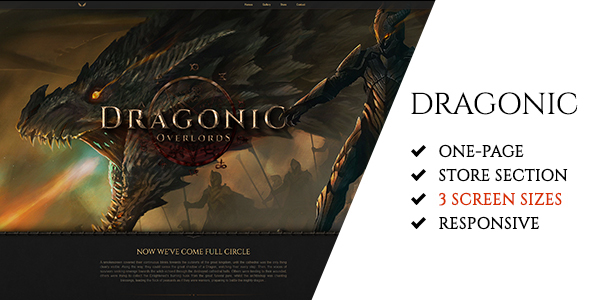 Dragonic: The Ultimate One-Page Premium Gaming PSD Template - Technology PSD Templates