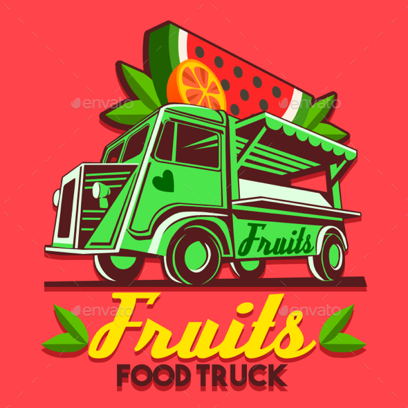 Food Truck Fruit Stand Fast Delivery Service Vector Logo