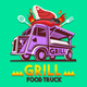 Food Truck Grill BBQ Fast Delivery Service Vector Logo - GraphicRiver Item for Sale